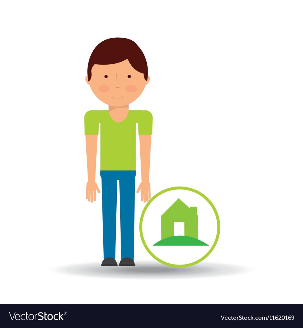 Boy Cartoon Save Earth Ecology House Icon Vector Image