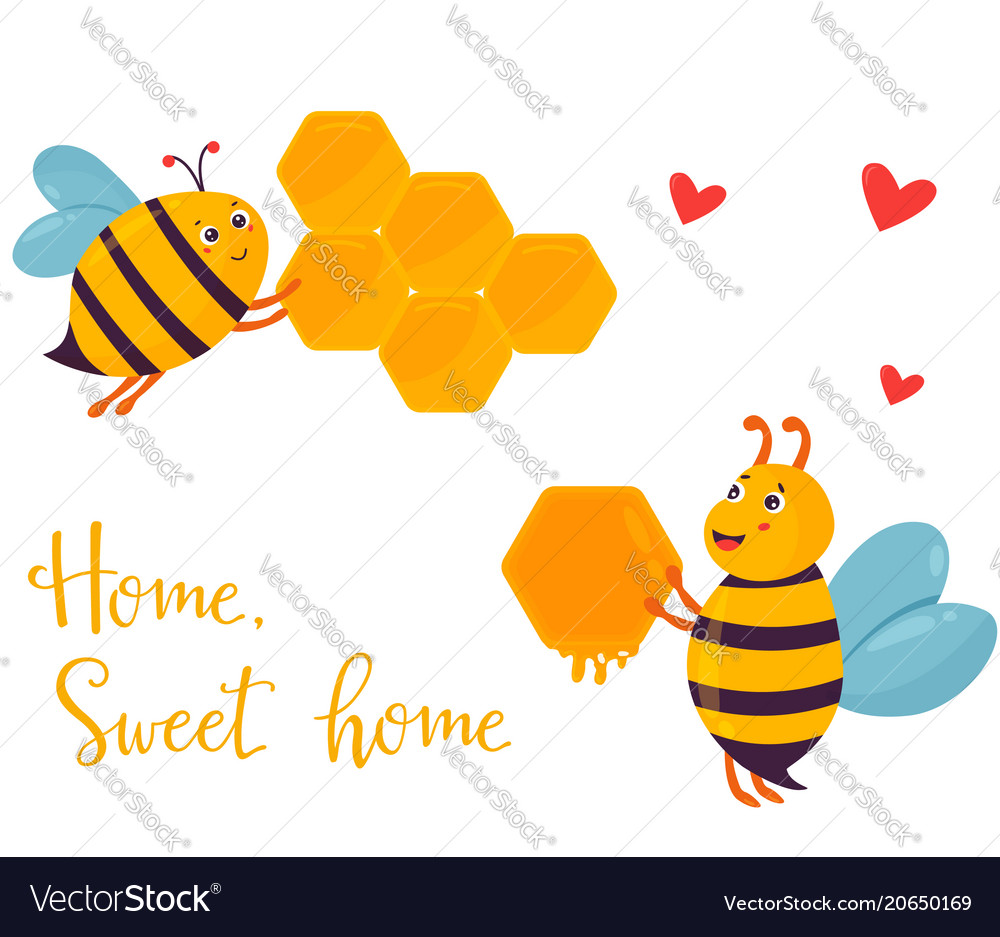 Bright image with two funny bees building beehouse