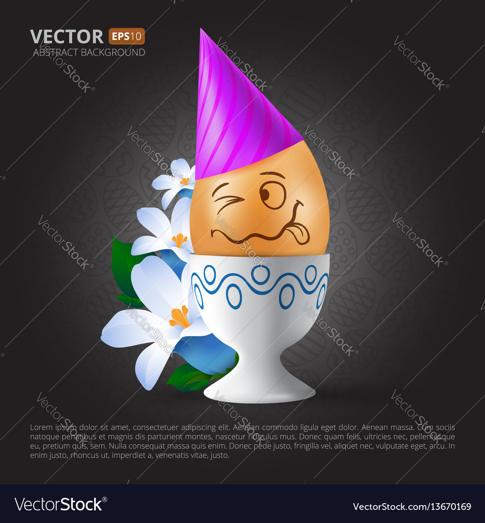 Funny cartoon emotional easter egg with painted