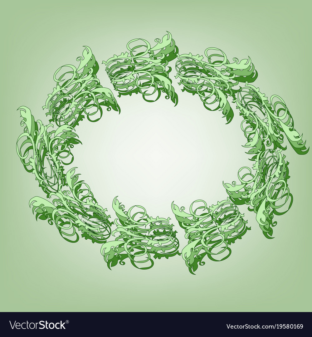 Oval of curls on a green background vector image