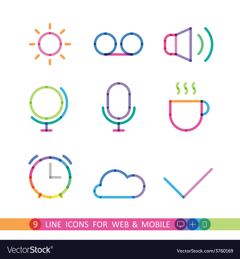 Set from 9 line icons for web and mobile