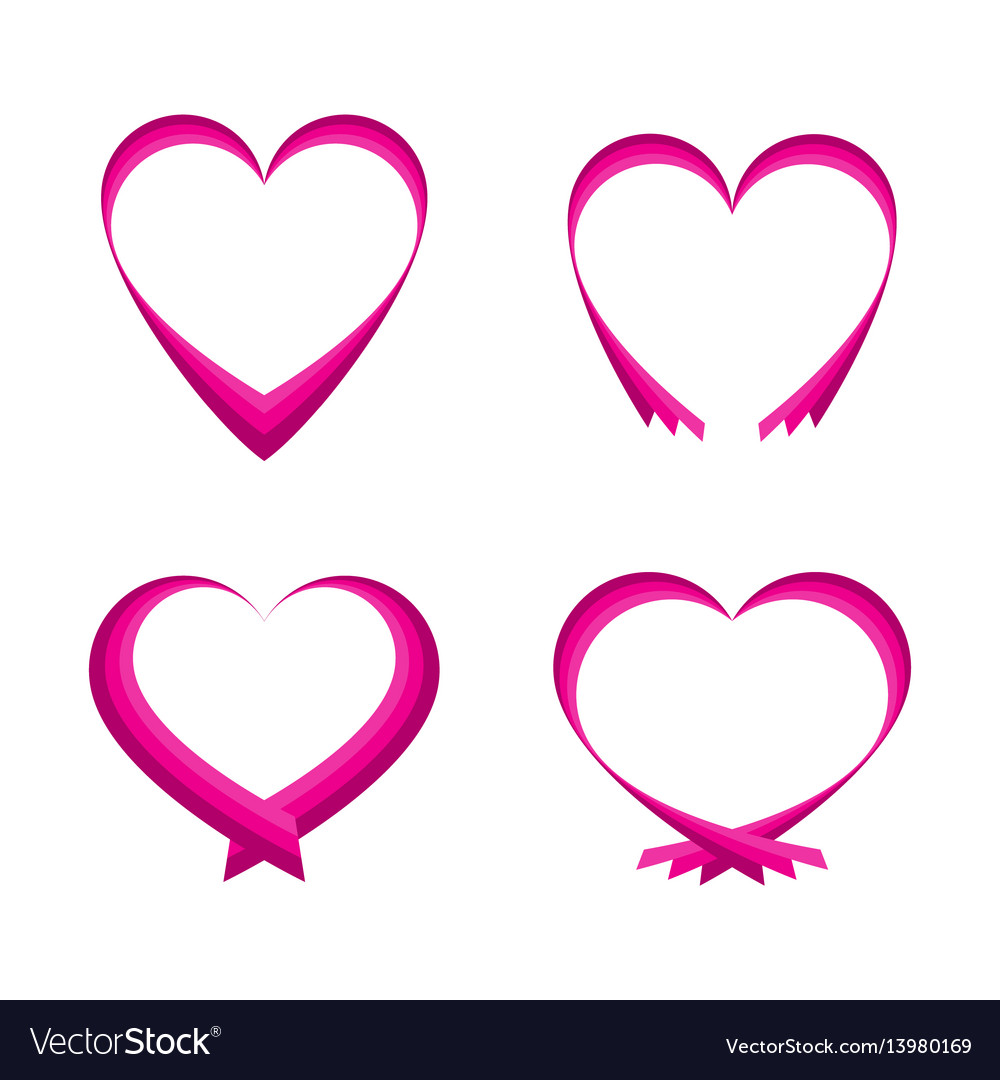 Set of pink abstract hearts