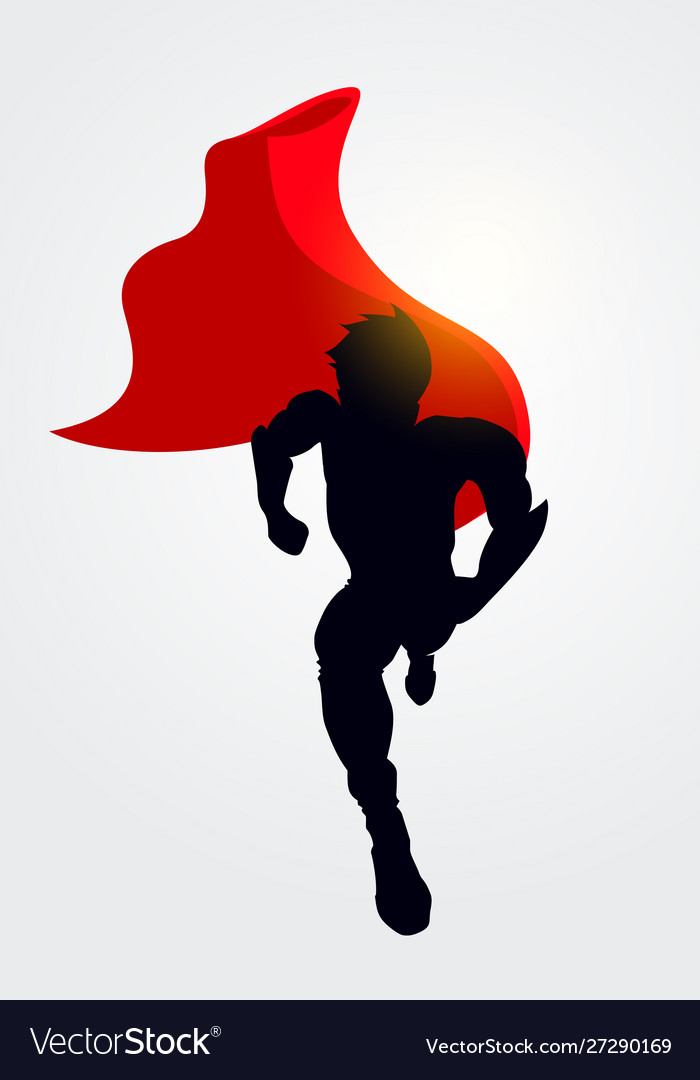 Superhero silhouette with cape running forward
