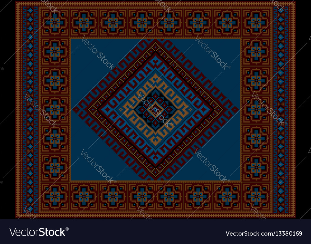 Vintage ethnic dark burgundy carpet with blue