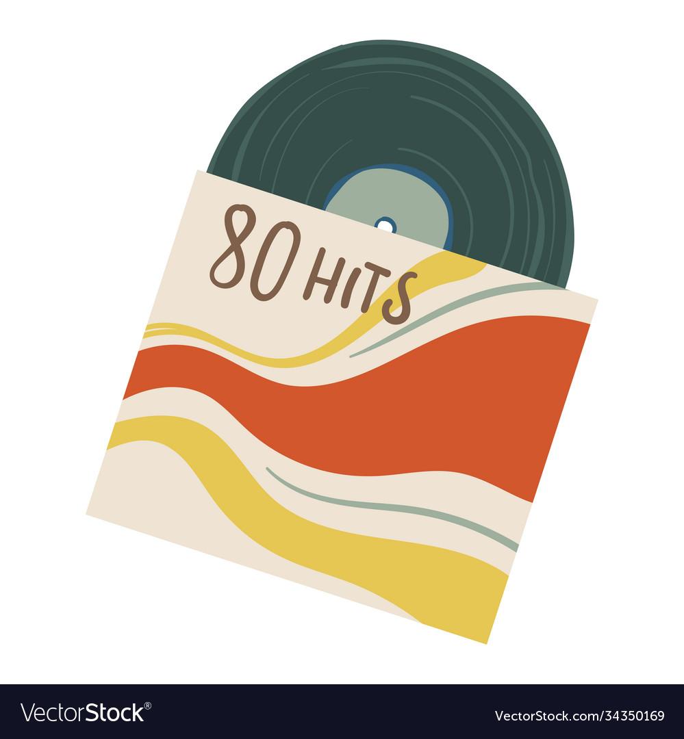 Vintage vinyl plate with hits eighties 80s
