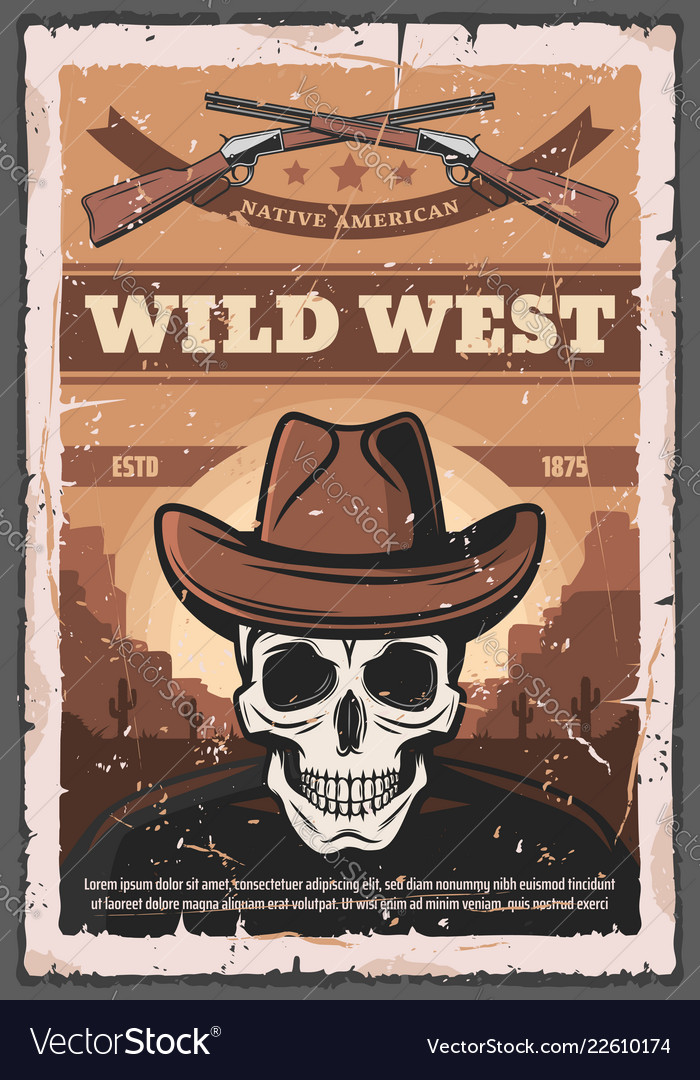 American wild west skull and rifles