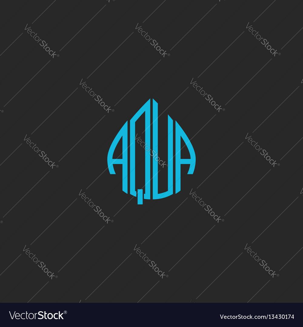 Aqua logo idea word lettering mockup sticker blue