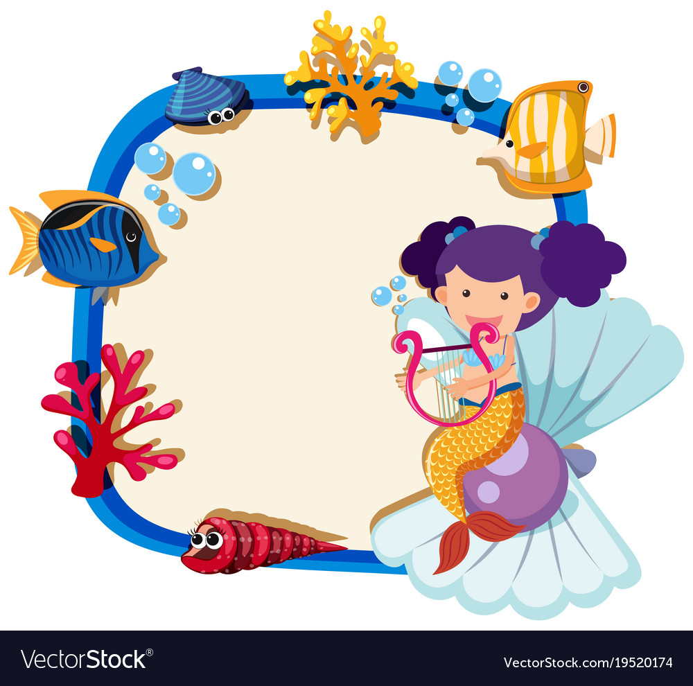 border template with little mermaid royalty free vector