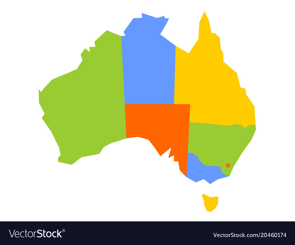 Australia Map Vector Ai.Colorful Blank Map Of Australia