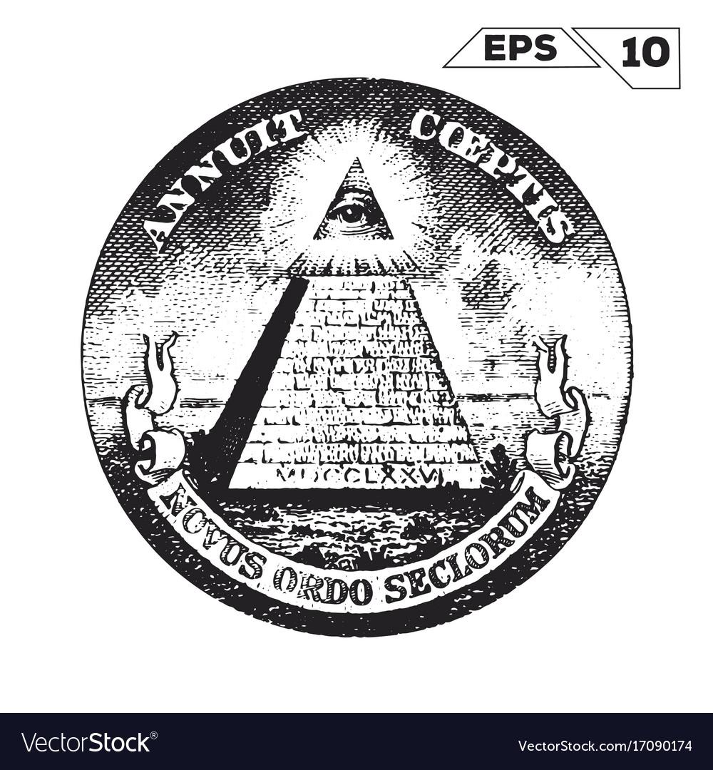 Eye of providence on one usa dollar bill vector image