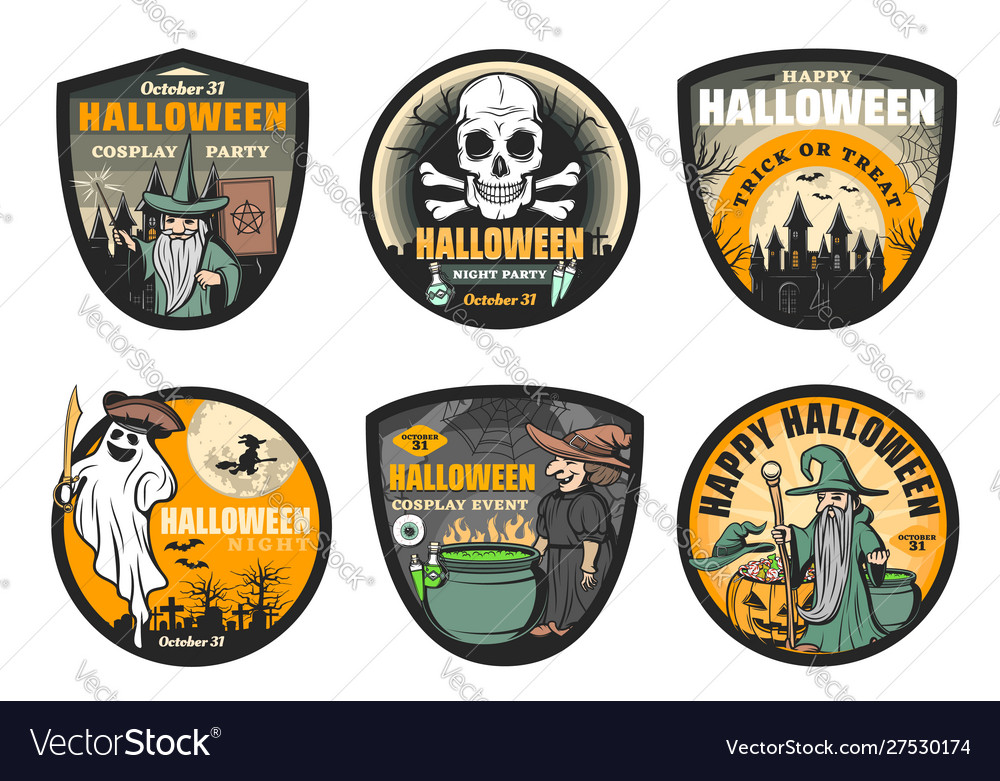Ghost witch skull moon and bat halloween icons