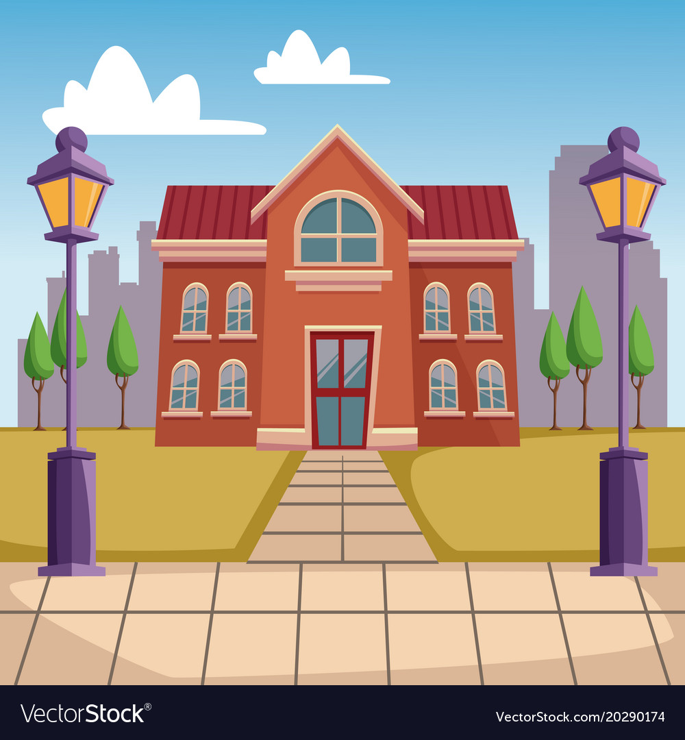 high school building cartoon royalty free vector image rh vectorstock com cartoon school building images cartoon high school building