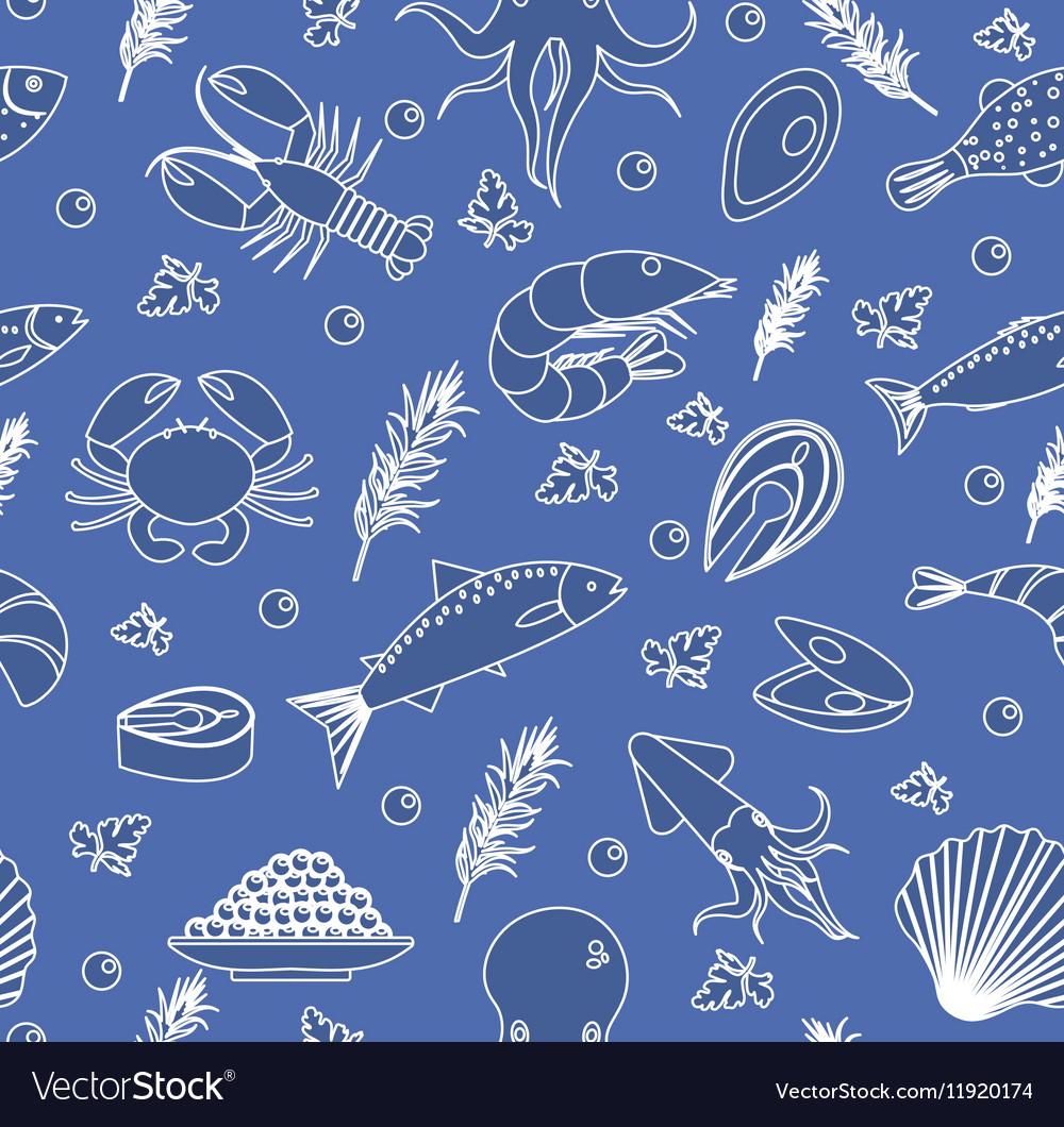Seafood seamless pattern Fish food endless
