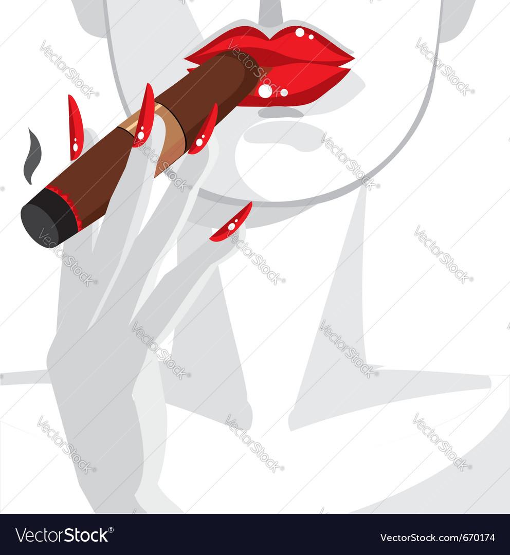 Sexy woman smoking a cigar vector image