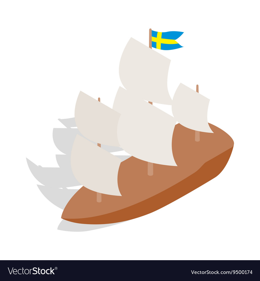 Ship with Swedish flag icon isometric 3d style vector image