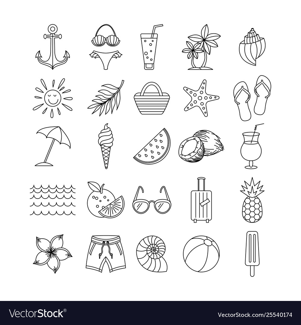 Summer icons set outline holiday black sketch
