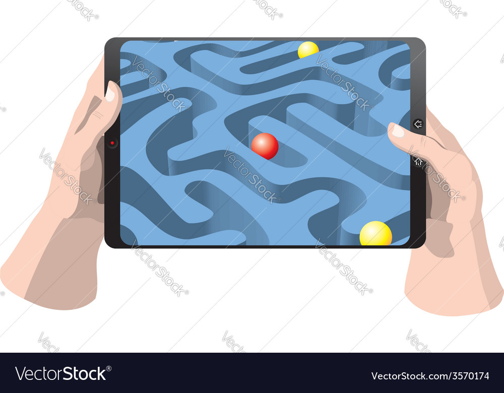Tablet computer with game vector image