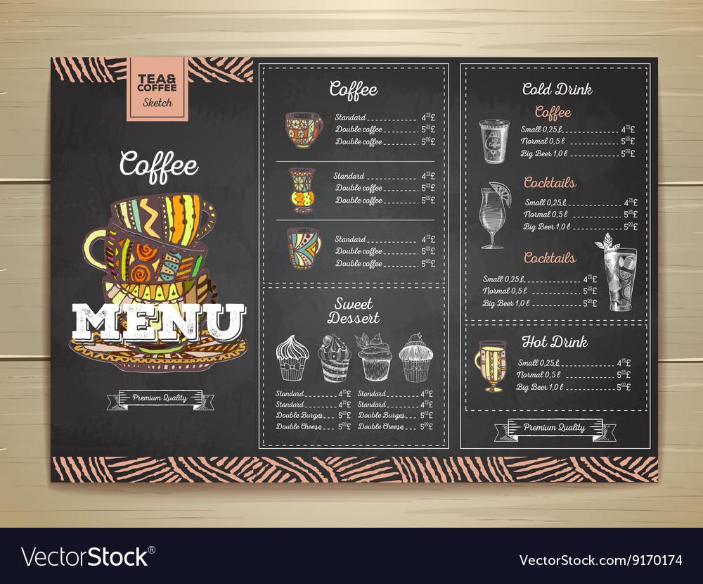 Vintage chalk drawing coffee menu design
