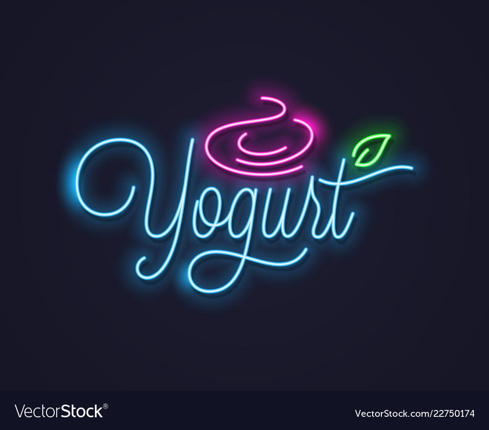 Yogurt cream neon sign frozen yogurt neon banner