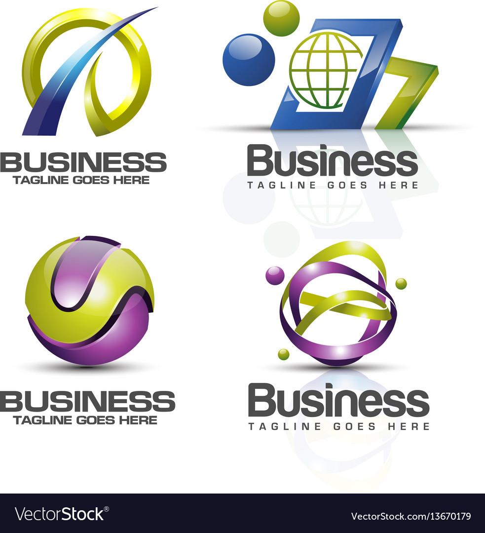 3d logo set