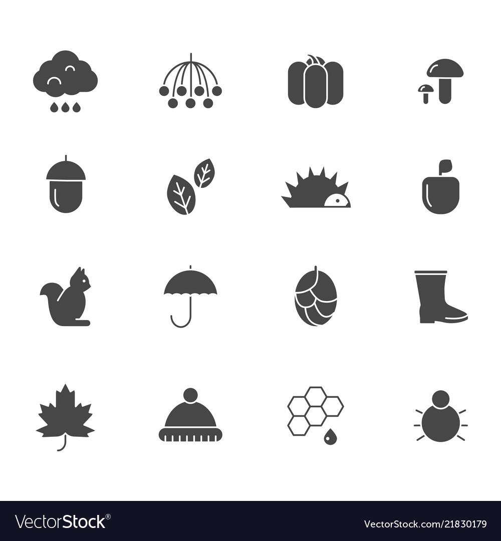 Autumn black icons various silhouettes autumn
