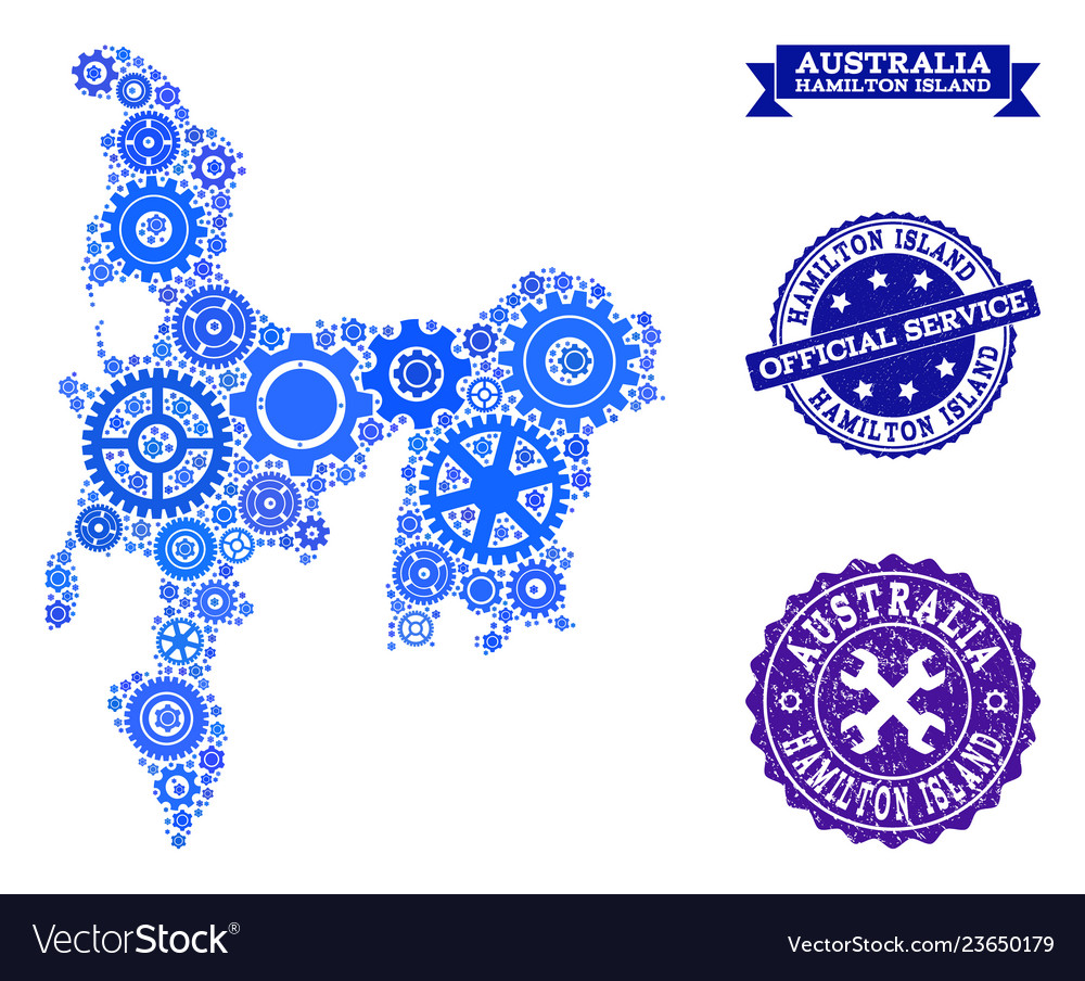 Hamilton Island Australia Map.Collage Map Of Hamilton Island With Gear Wheels Vector Image