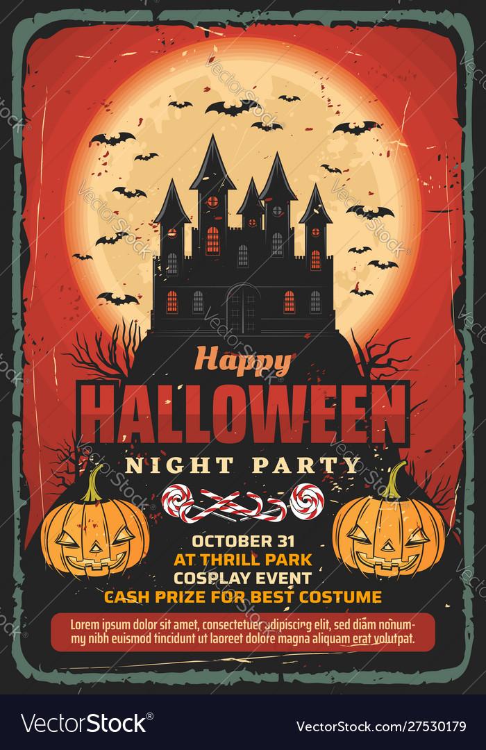 Halloween Haunted House Pumpkins And Bats Vector Image