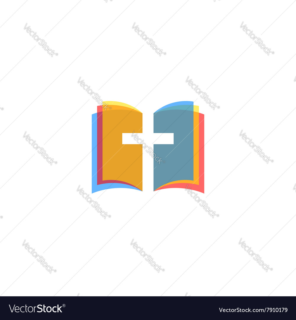 Holy Bible icon colorful pages religion logo vector image