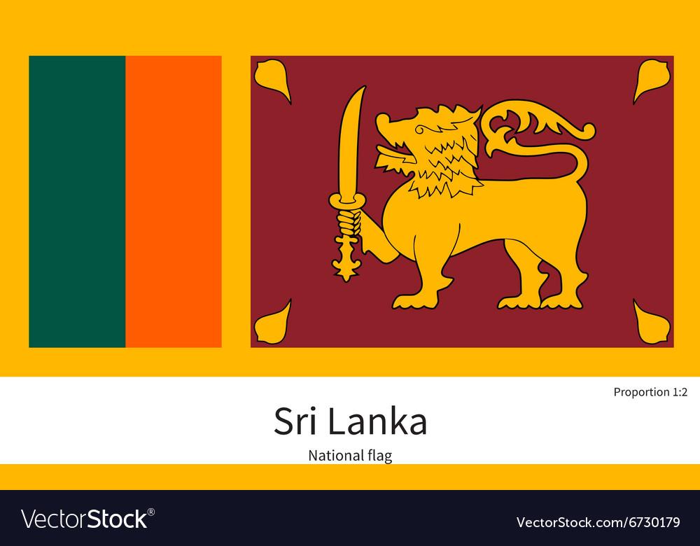 National flag of Sri Lanka with correct
