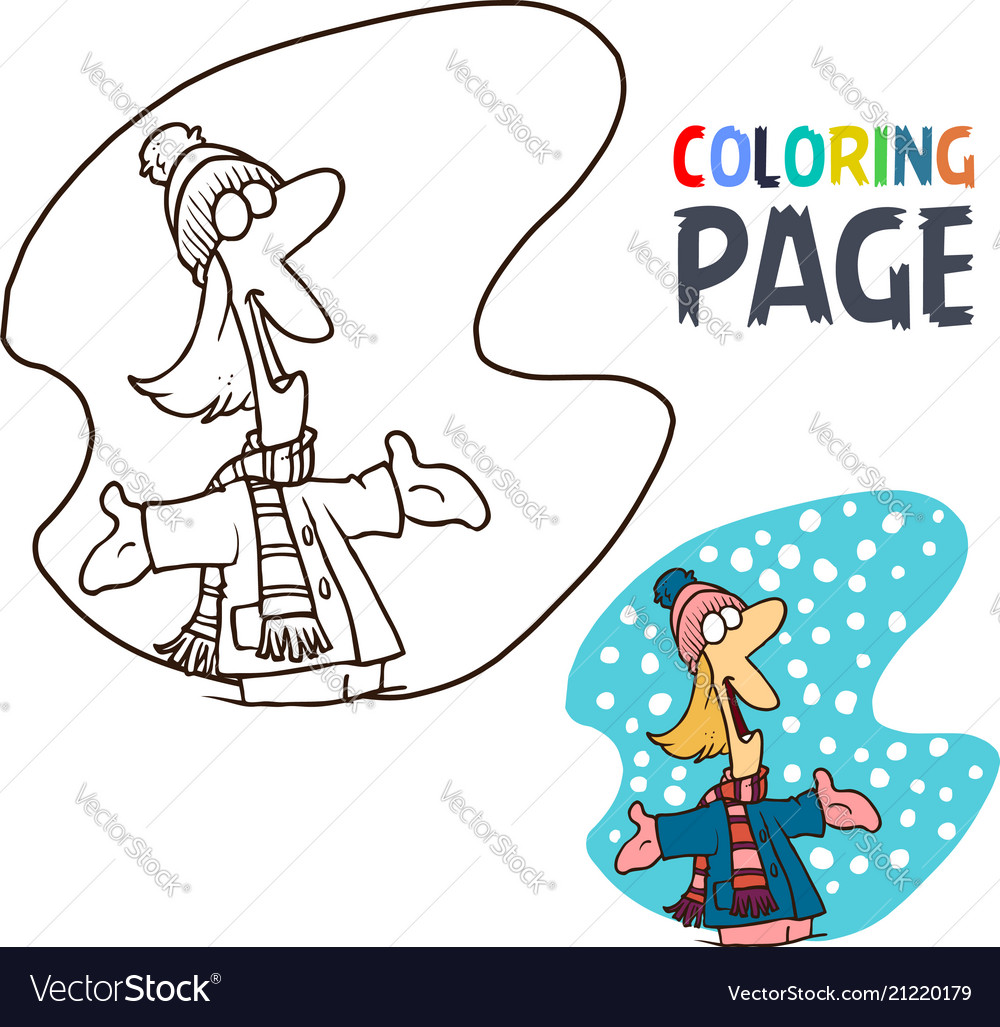 People with winter coloring page