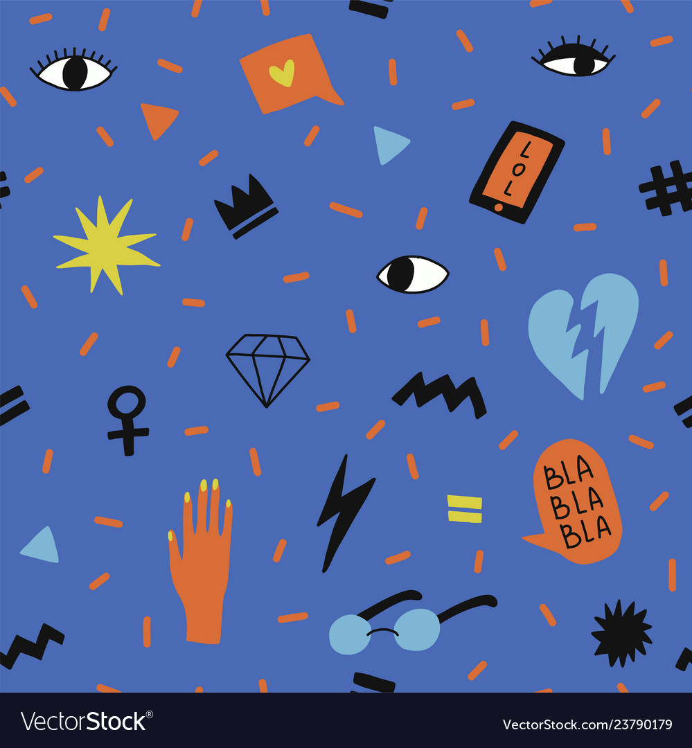 Seamless pattern with symbols for teenage girls