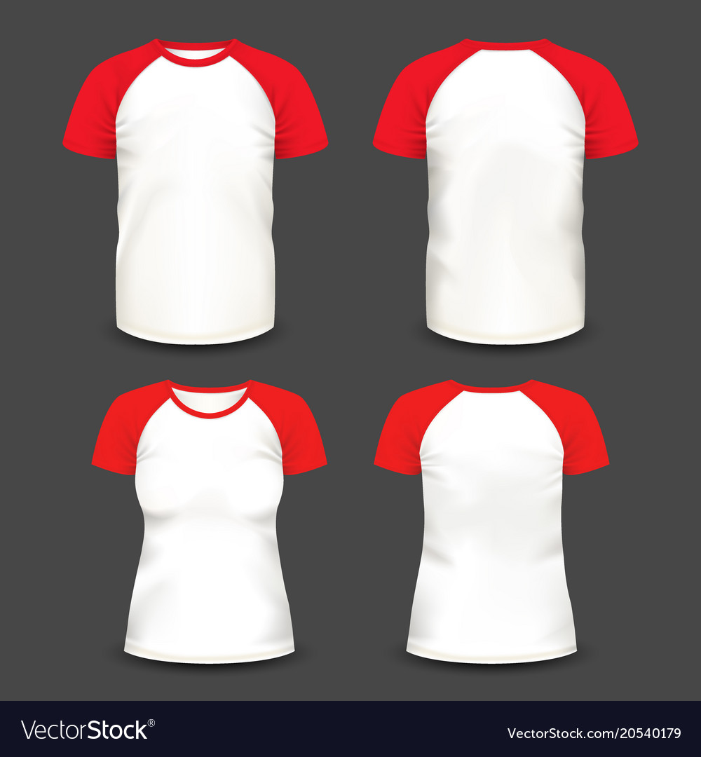 Short Raglan Sleeve Realistic Volumetric T Shirts Vector Image