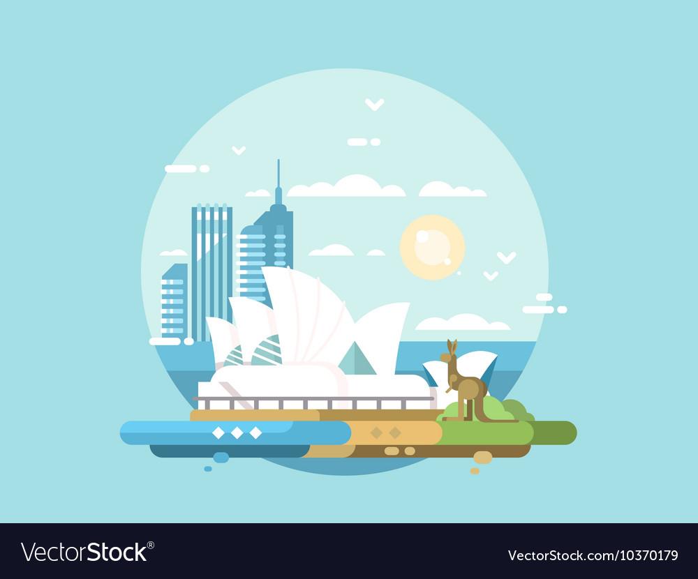 Sydney city flat design vector image