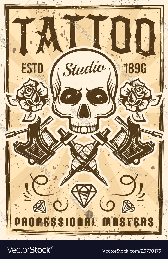 Tattoo studio advertising poster in vintage style