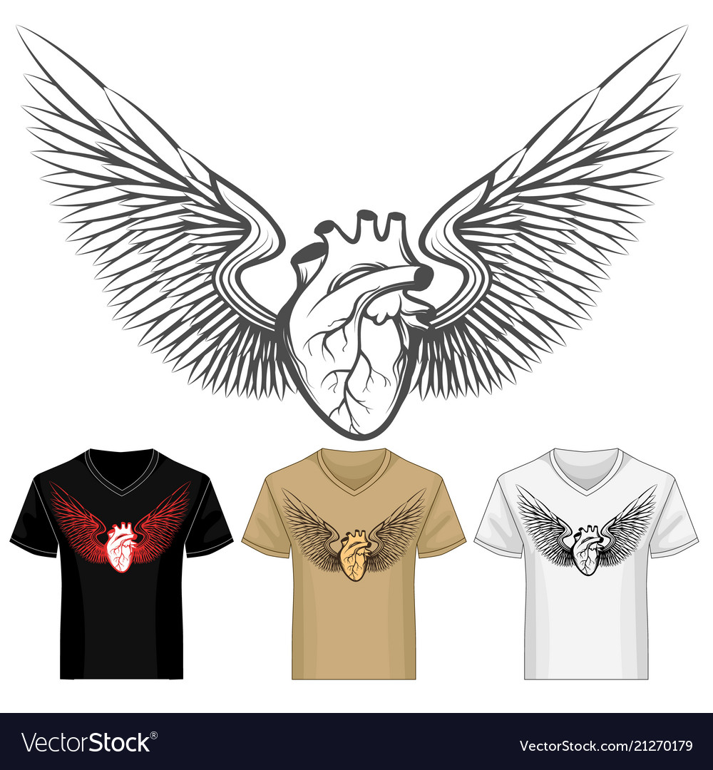 Winged heart shirt template