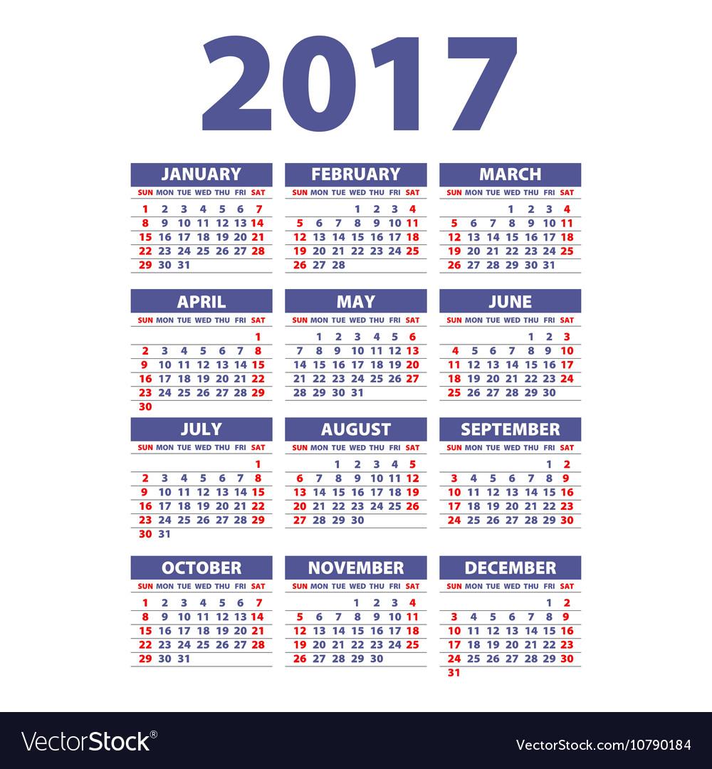 Calendar 2017 Week starts from Sunday flat design