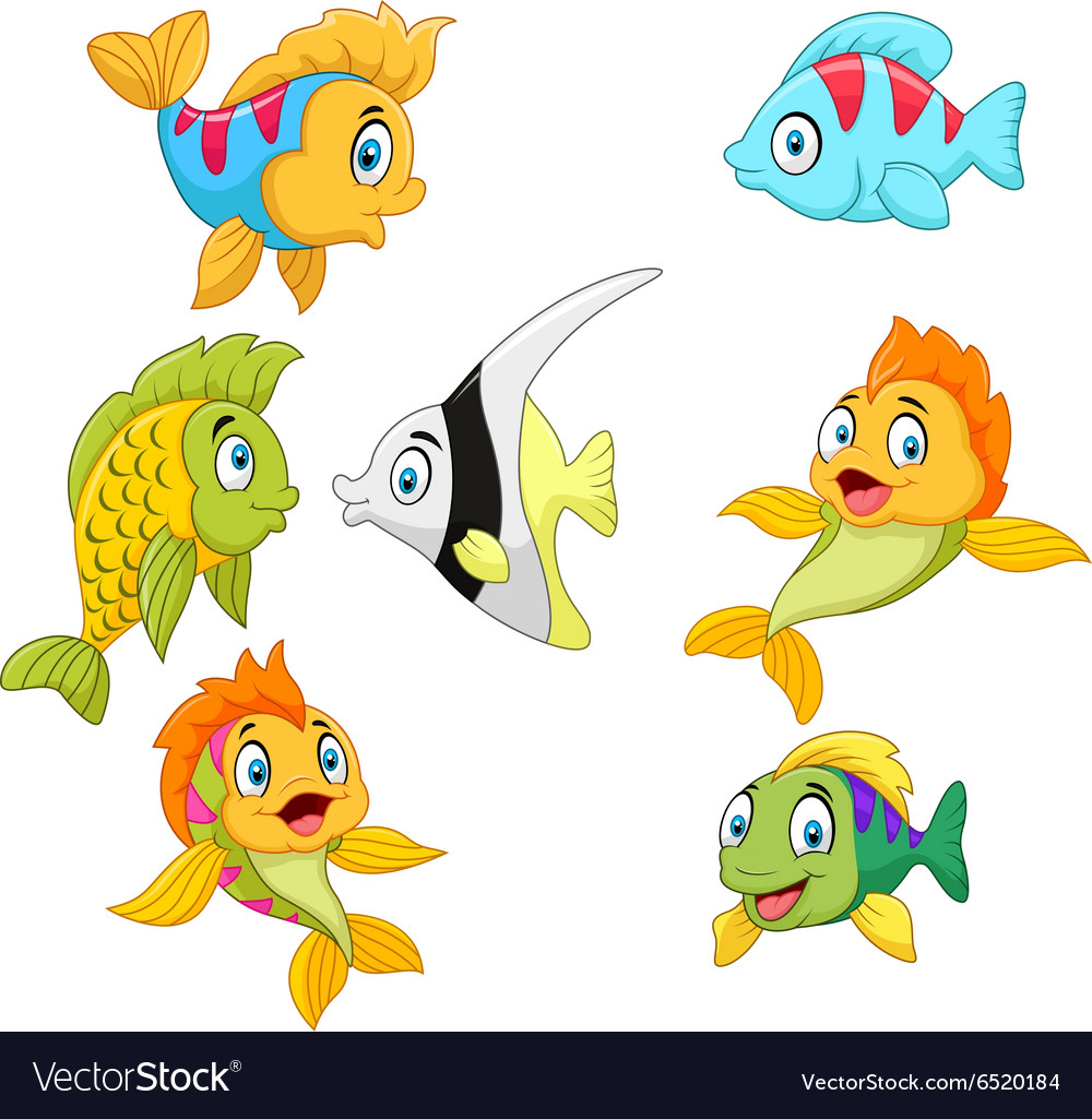 Cartoon fish collection set isolated