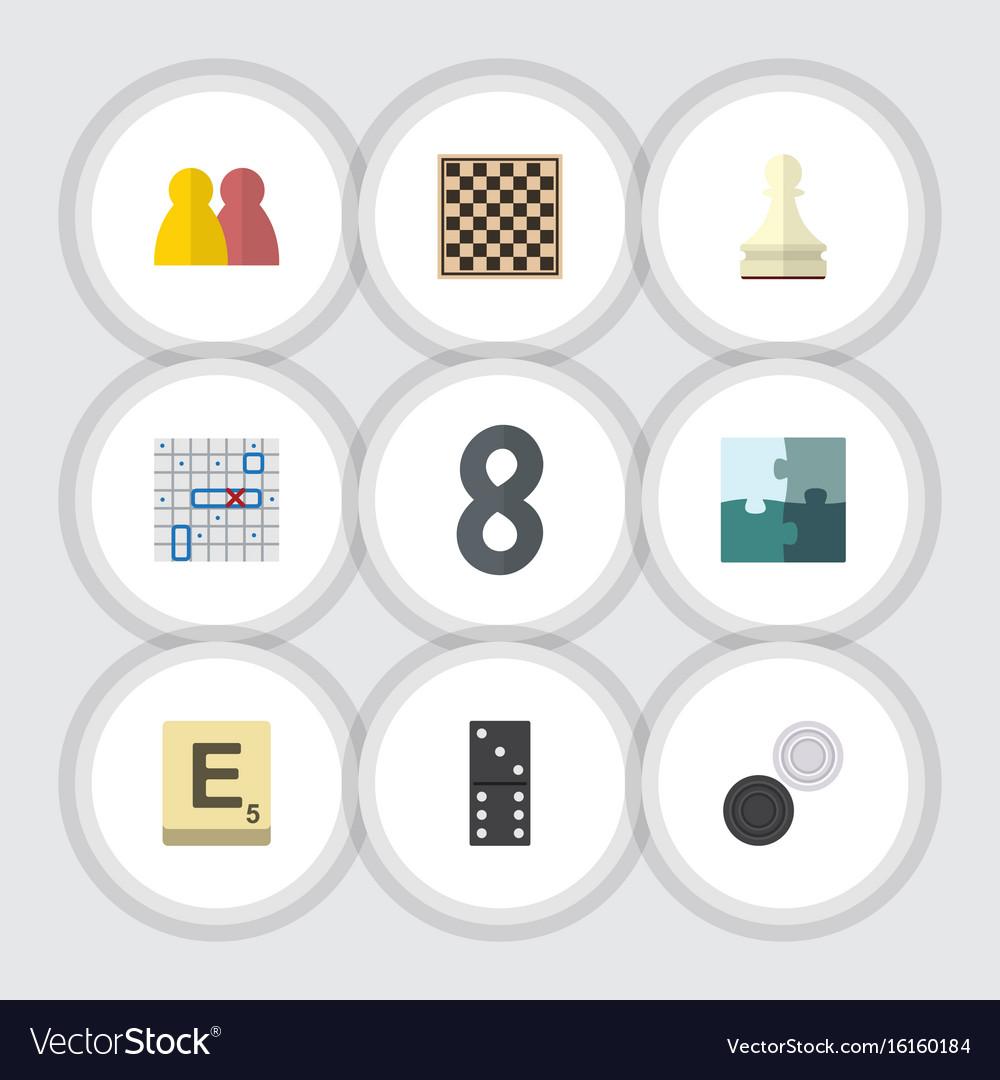Flat icon entertainment set of bones game pawn