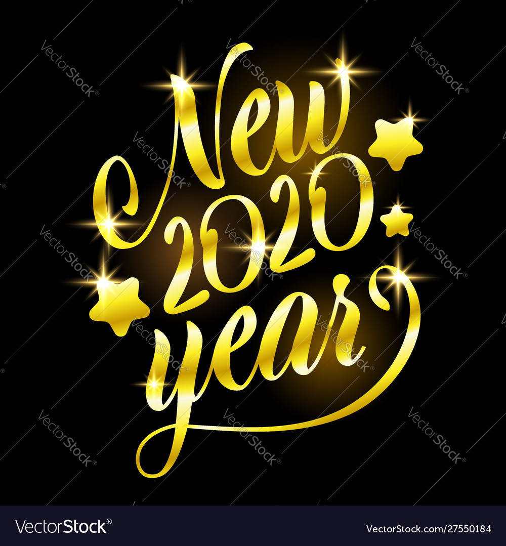 Golden sign happy new 2020 year holiday