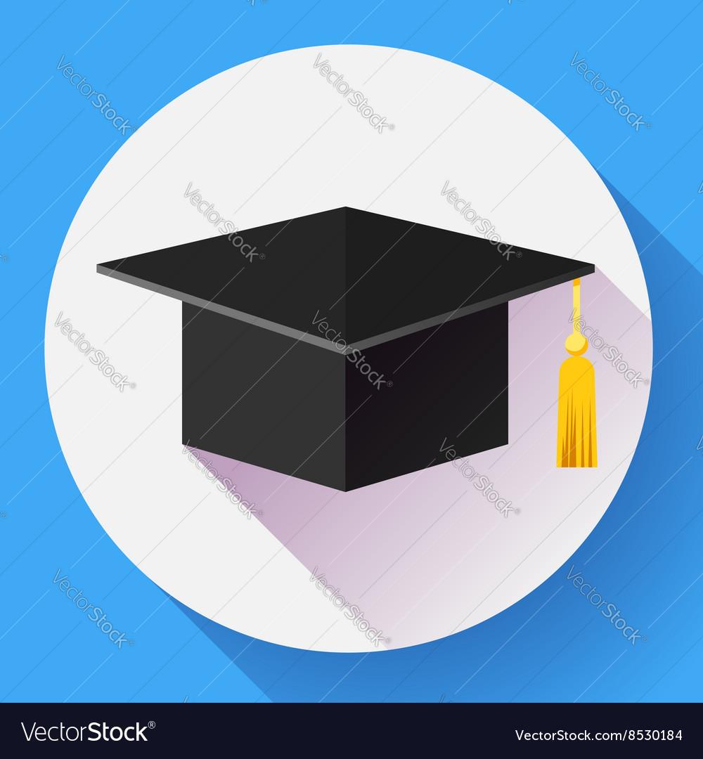 Graduation cap icon Flat design style