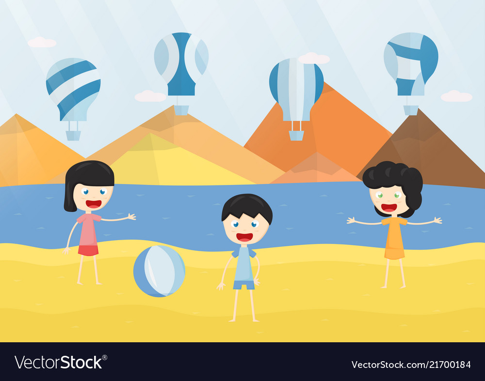 Kids smile and play the blue balloon on the beach