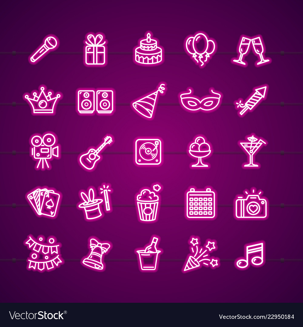 Party signs neon thin line icon set
