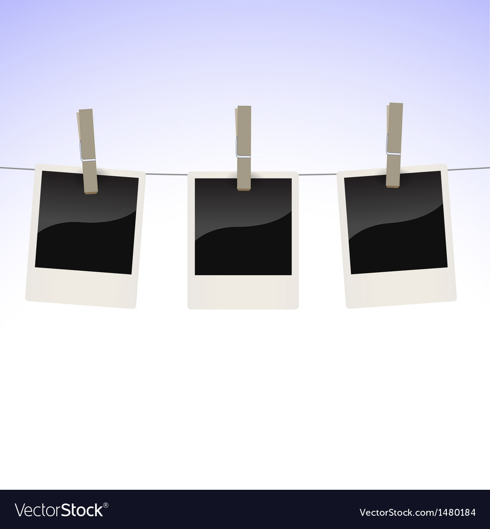 Photos on clothesline Royalty Free Vector Image