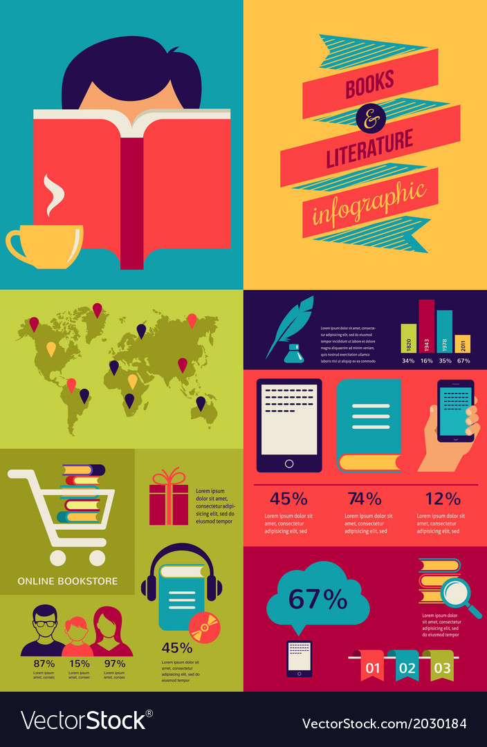 Reading books infographics set of flat icons vector image