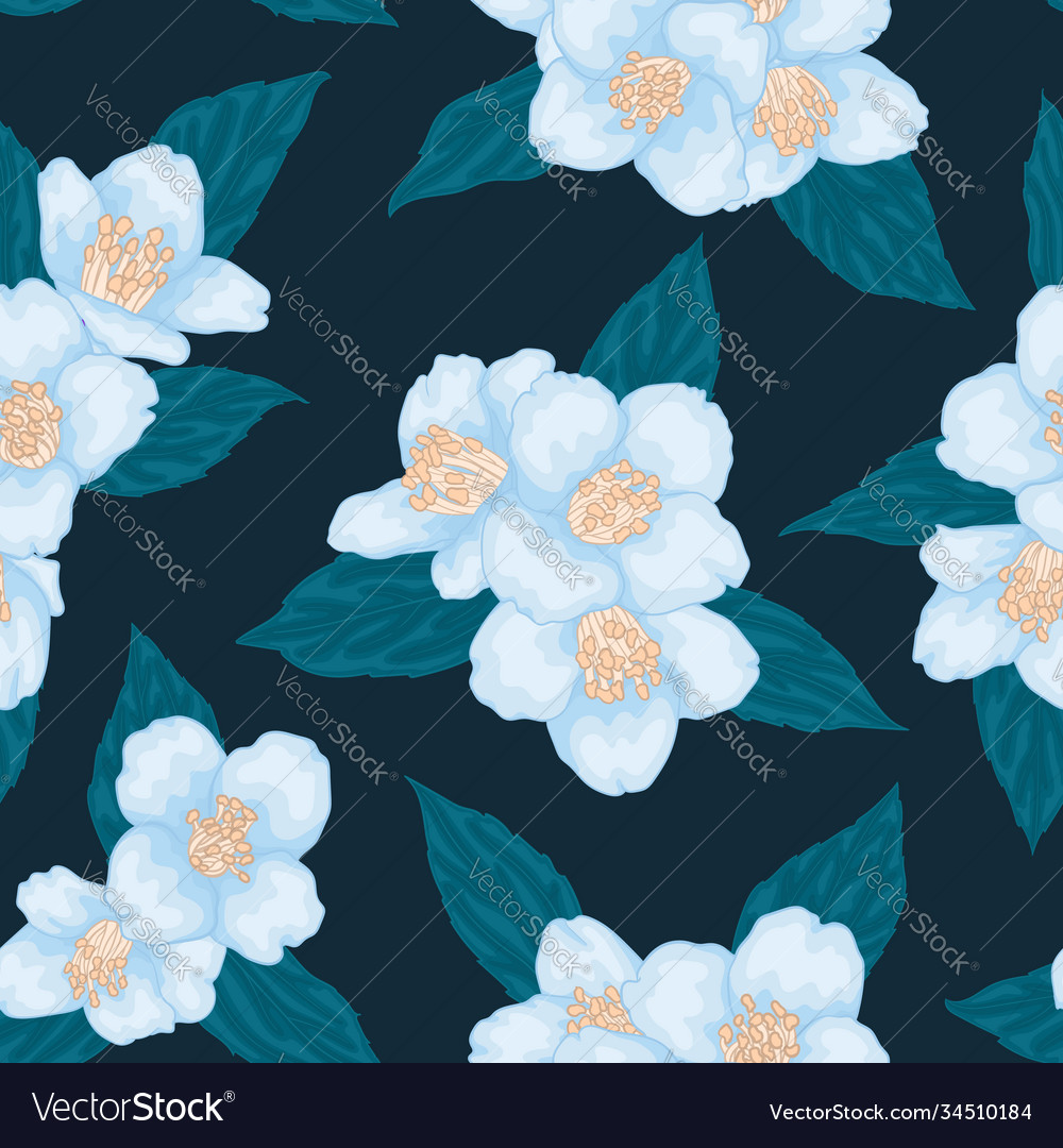 Seamless branch blue chamomile graphic