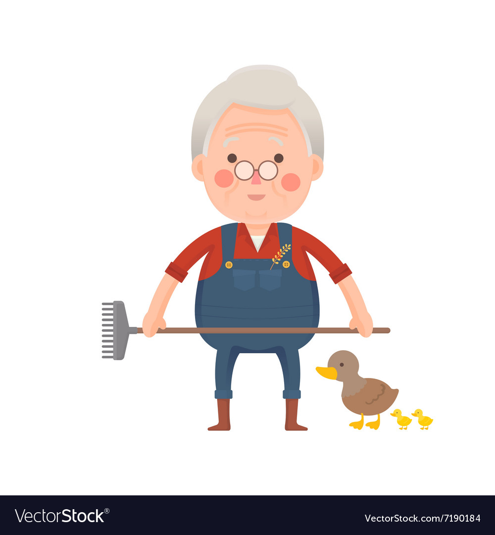 Senior Farmer with Ducks Cartoon Character vector image