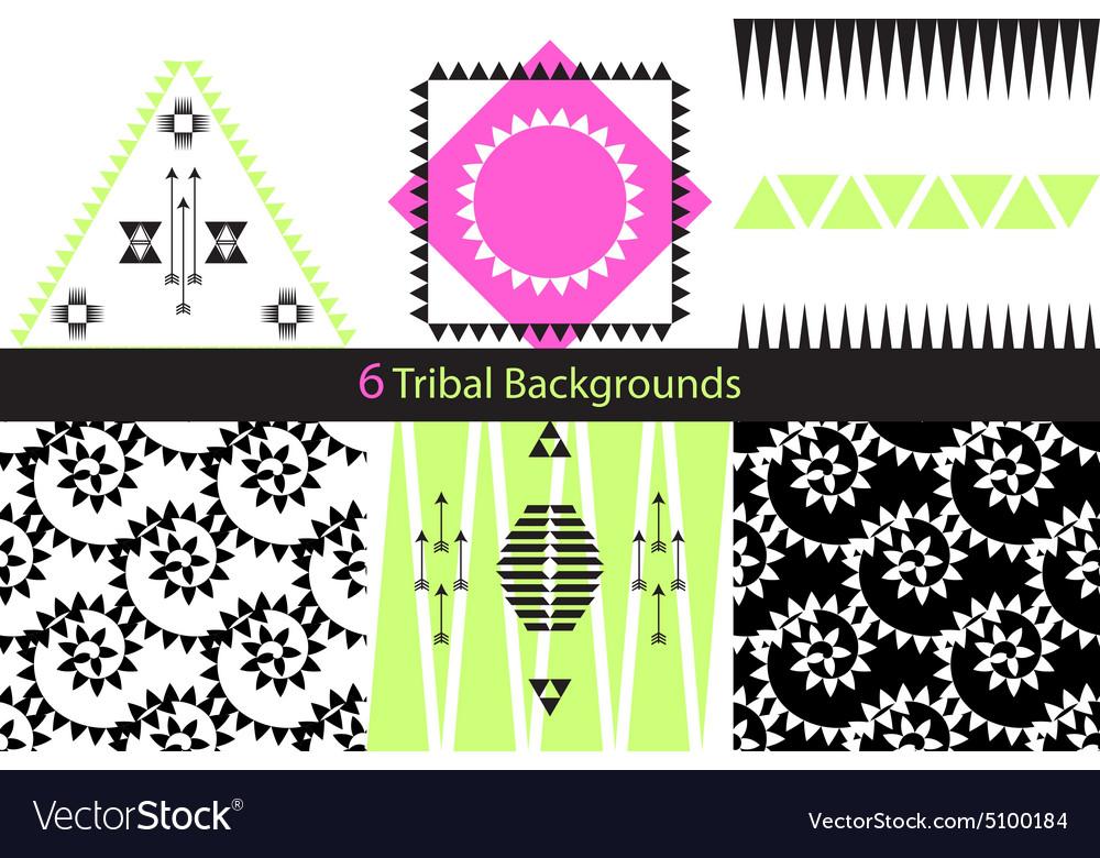 Set of six ethnic tribal backgrounds