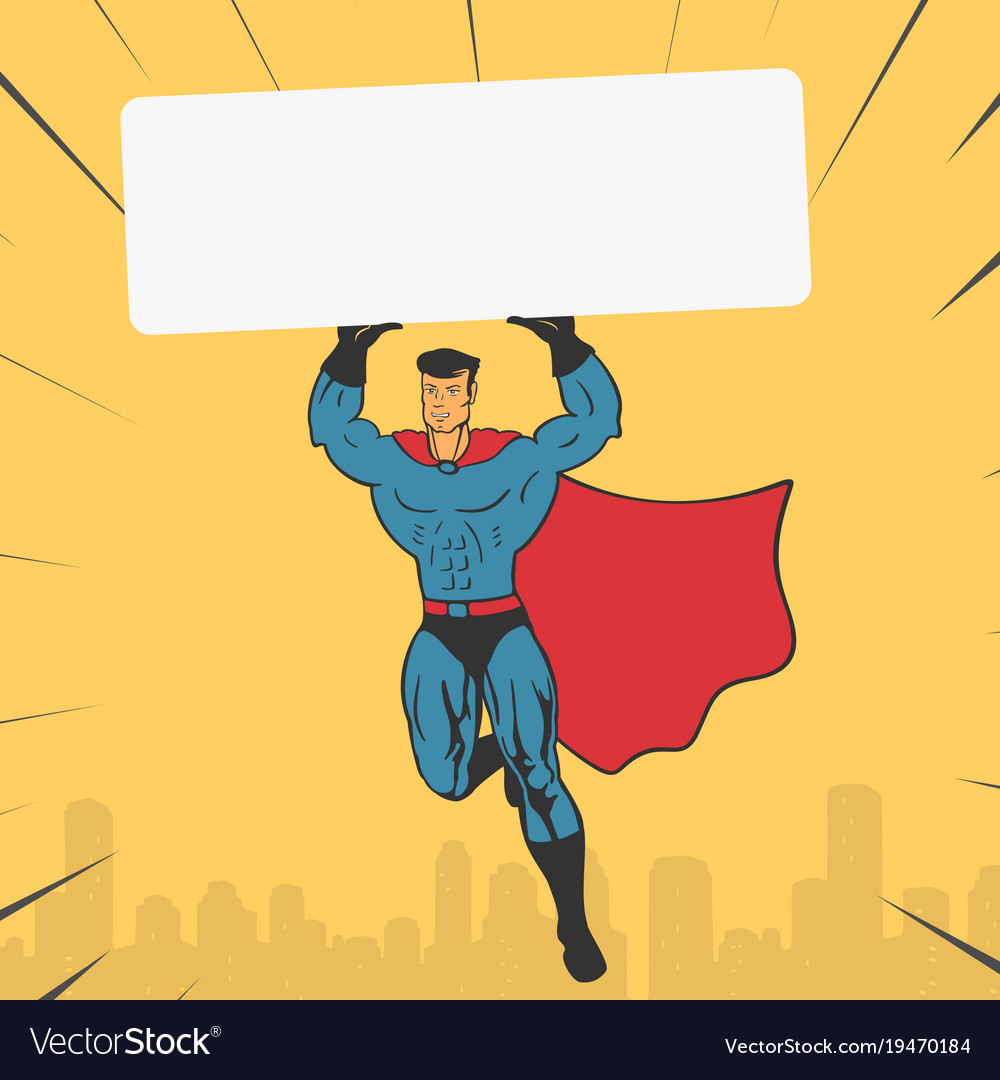 Template super hero holds a banner