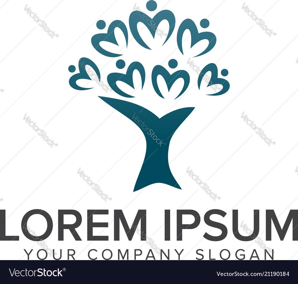 Tree people logos design concept template