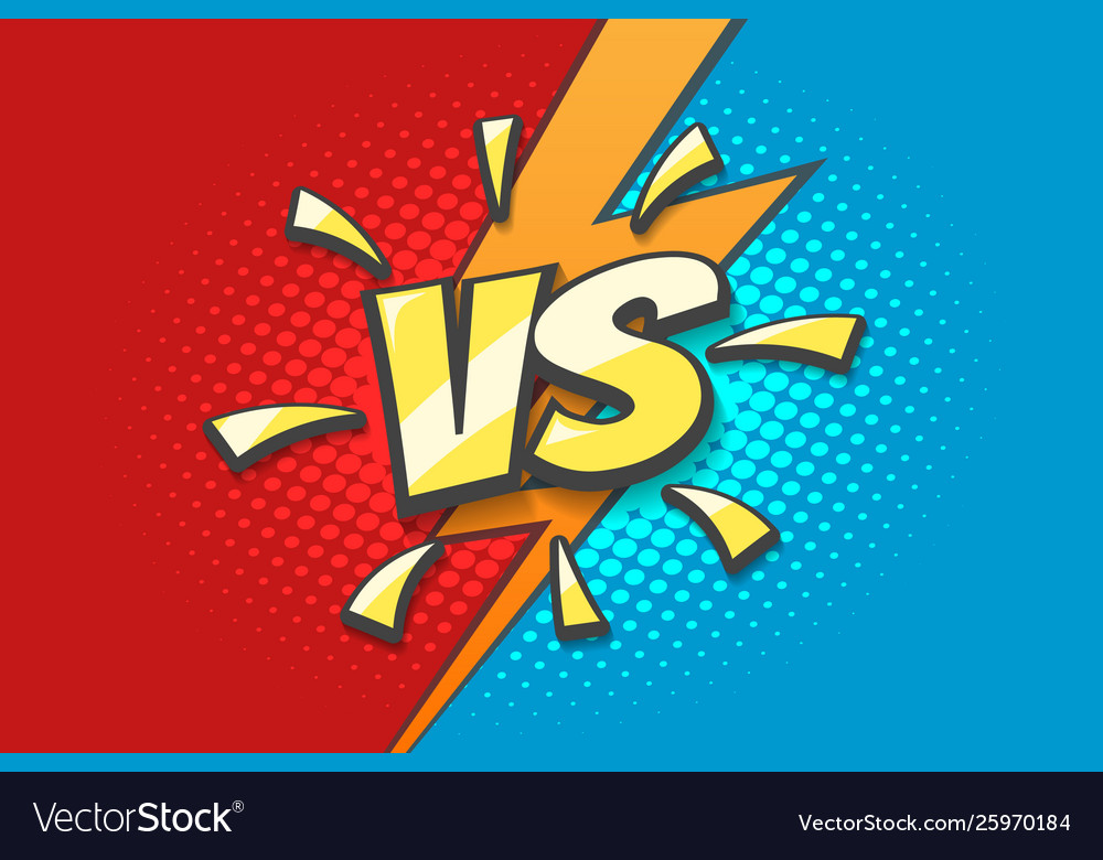 Versus Sign With Lightning Background Drawn In Vector Image